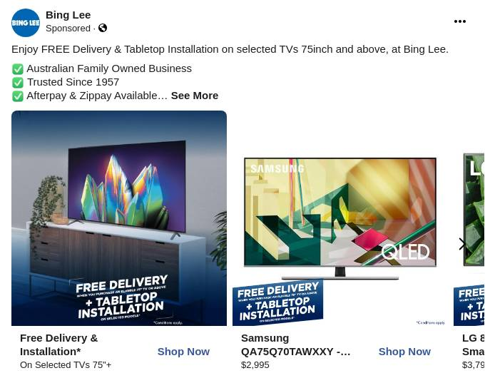 """Free Delivery & Installation* on Selected 75"""" TVs & Above* - Buy Online with Afterpay & ZipPay"""
