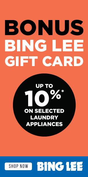 Up to 10% Bonus Bing Lee Gift Card On Selected Laundry Appliances - Buy Online with Afterpay & ZipPay