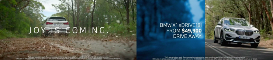 Source: BigDatr, BMW 'Joy Is Coming' campaign, FTA TV captured May 10 - May 26 2020