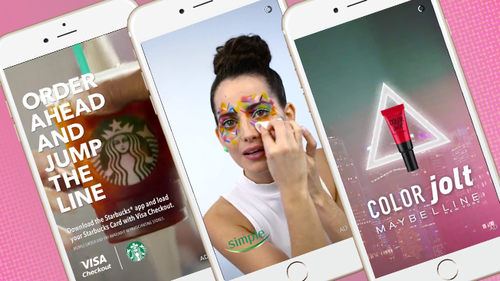 Snapchat ads appear between story of photos and videos when users have shared with their followers. (Image Source:  Adweek )