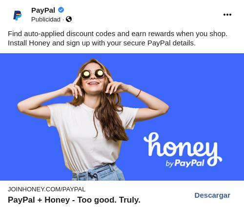 A PayPal Honey ad depicting a smiling woman