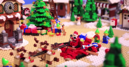 A close up shot of a Lego Christmas scene