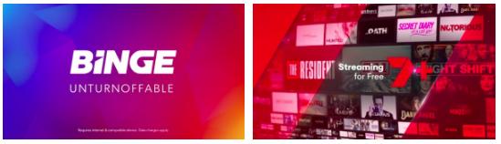 1) BigDatr, Binge  It's Unturnoffable , FTA TV Metro, 7mate, 10, 10 Bold, 10 Peach, 7mate, 7TWO, GEM, GO!, Nine Digital, SBS, Seven Digital, NSW, QLD, SA, VIC, WA, Jul 19 - Jul 30 2) BigDatr, 7plus  Streaming For Free , FTA TV Metro, 7mate, 7TWO, Seven Digital, NSW, QLD, SA, VIC, Jul 24 - Aug 14