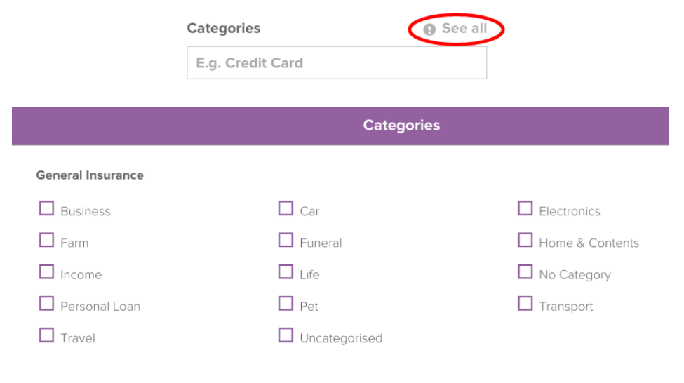 Insert Image of Categories See All