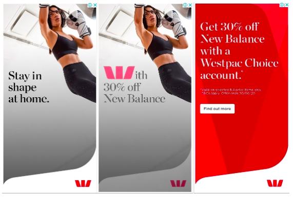 Source: BigDatr, Westpac  Get 30% Off New Balance With A Westpac Choice Account , Digital Display, June 10