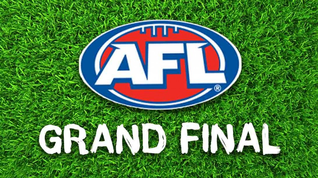 The AFL Grand Final Logo resting on grass